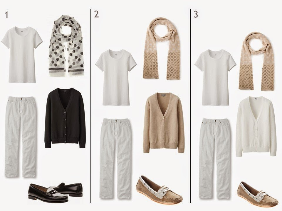 3 outfits with a white tee shirt and white jeans, each with a cardigan, scarf, and shoes in black, white or beige