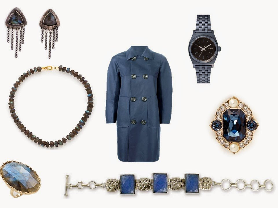 smoky blue Dsquared2 coat, with an assortment of blue jewelry