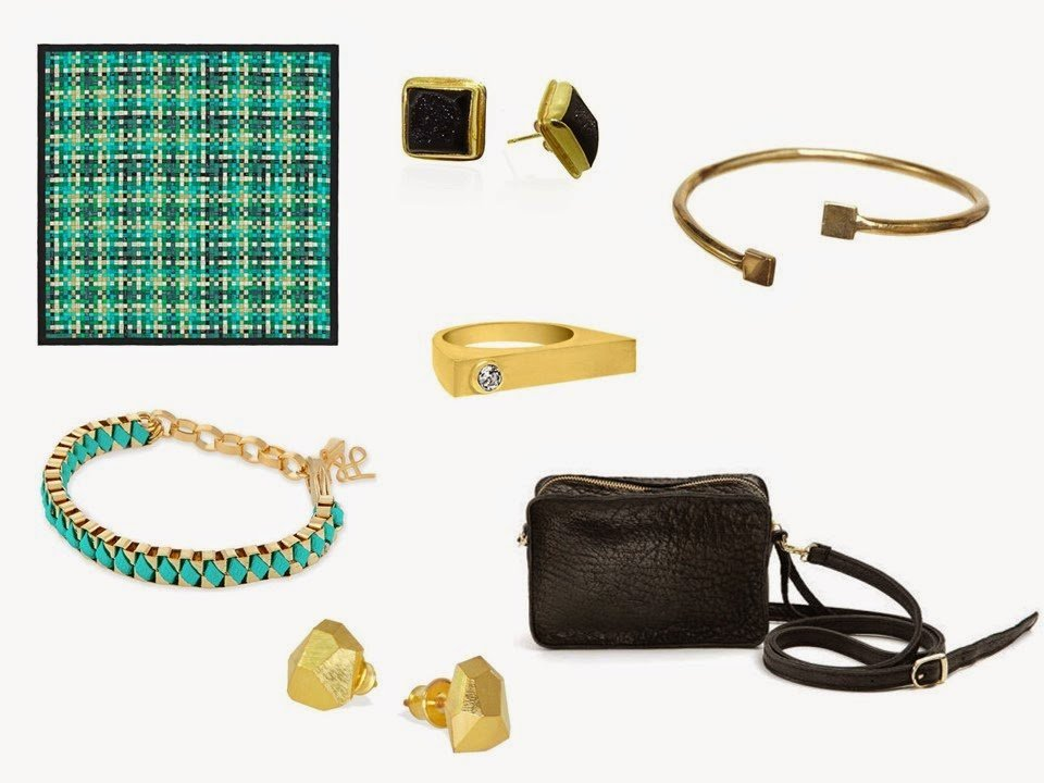 Hermes Bolduc silk scarf in green, with some complementary accessories