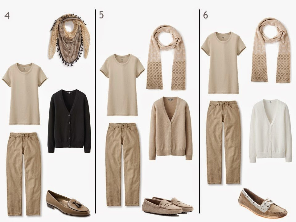 3 outfits with a beige tee shirt and beige jeans, each with a cardigan, scarf and loafers in black, white or beige