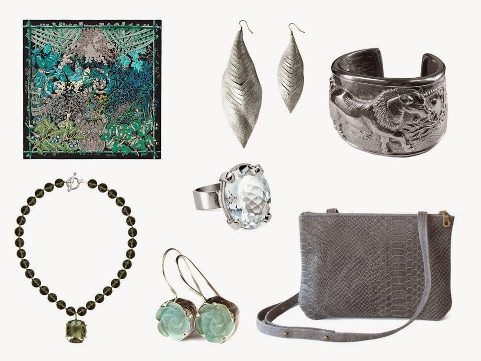 Hermes Mythes et Metamorphoses silk scarf in green, with complementary accessories