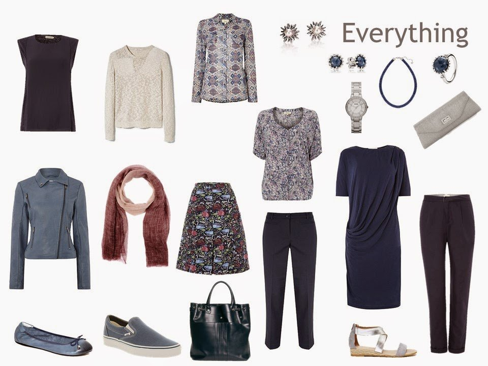 nine garments, in navy, soft blue and beige, for a long weekend in Paris