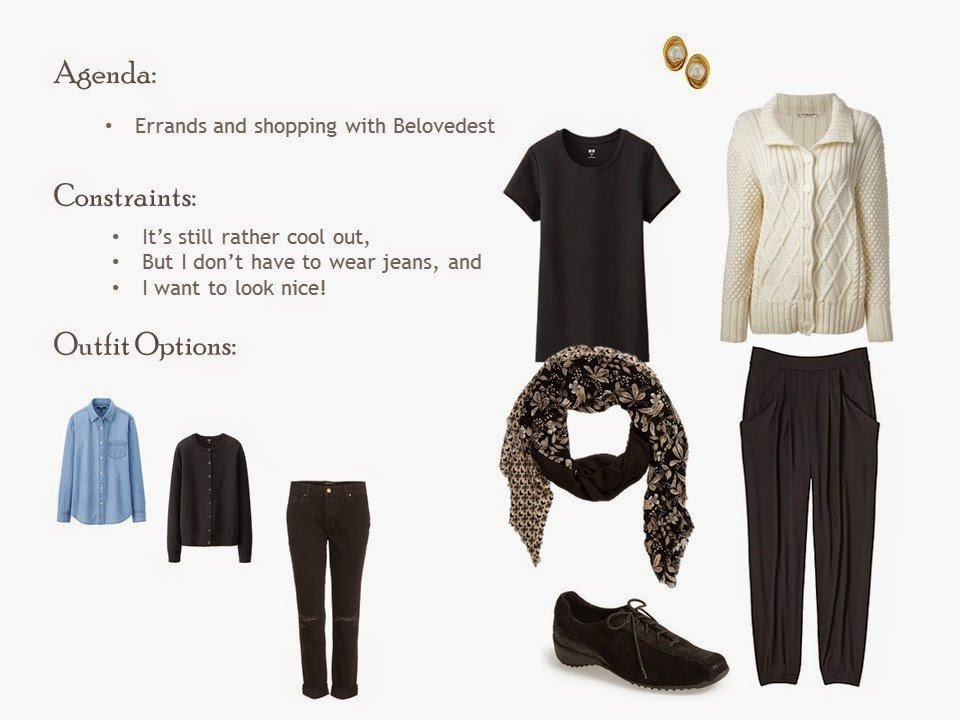 outfit of black tee shirt and slouch pants, with a beige Aran cardigan and patterned scarf