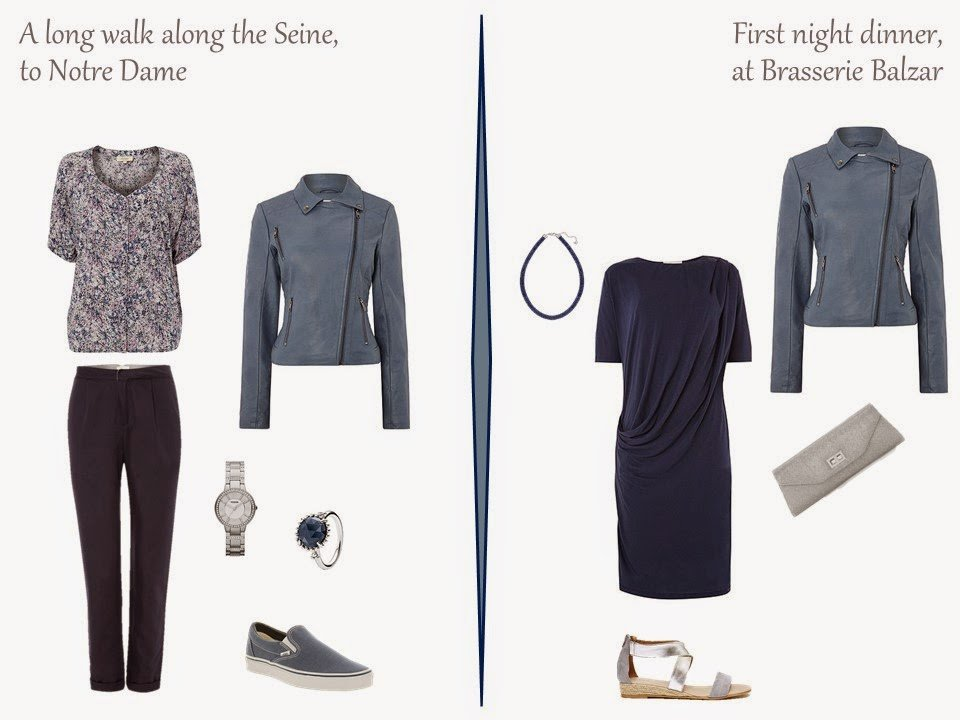 two outfits for a long weekend in Paris, including a soft blue faux suede motorcycle jacket