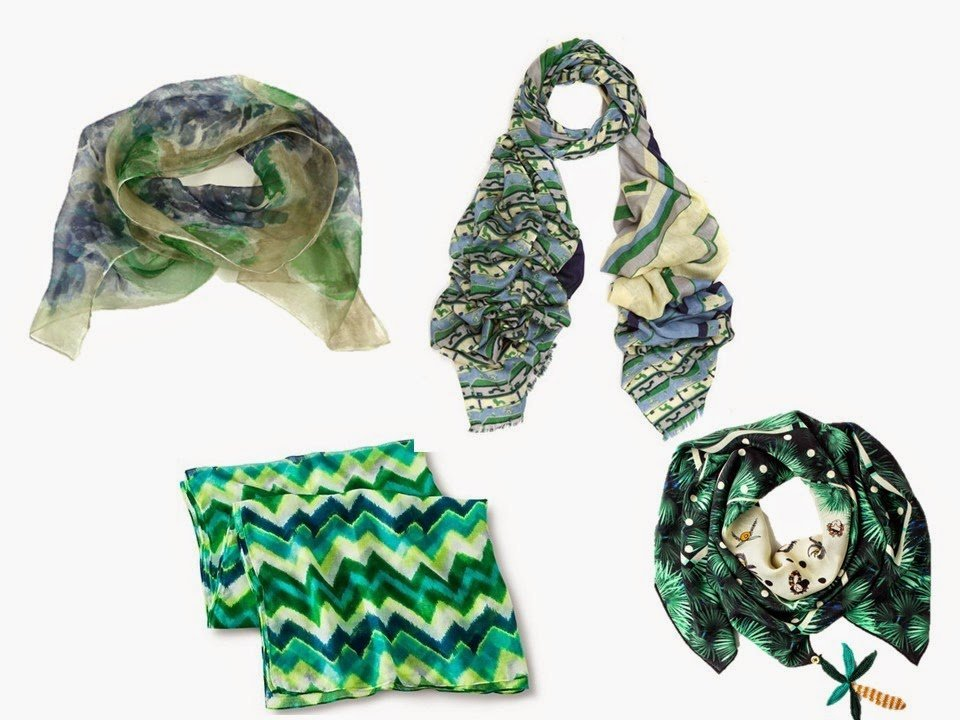 four green printed scarves