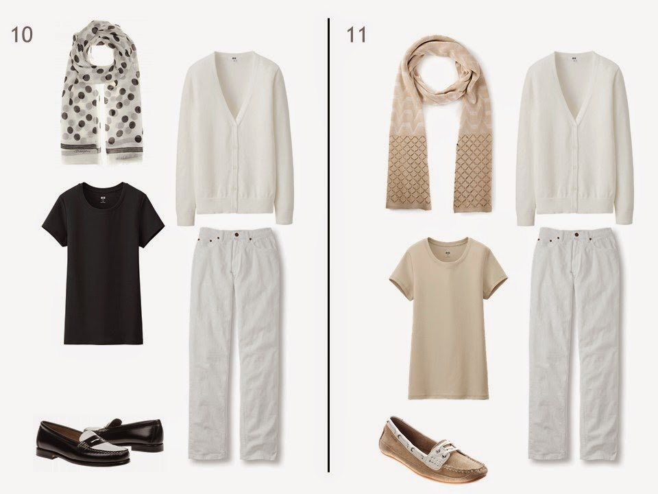 2 outfits of a white cardigan and white jeans, with either a black or a beige tee shirt, printed scarf, and two-toned shoes