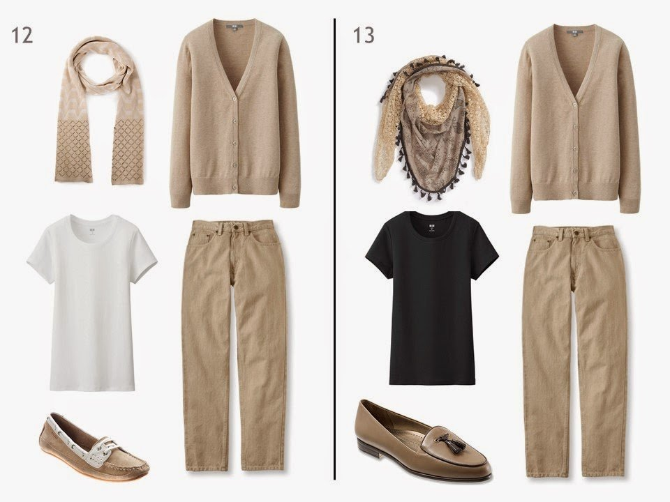 2 outfits of a beige cardigan and beige jeans, one with a white tee shirt, one with a black tee shirt, and each with a patterned scarf and two-toned shoes