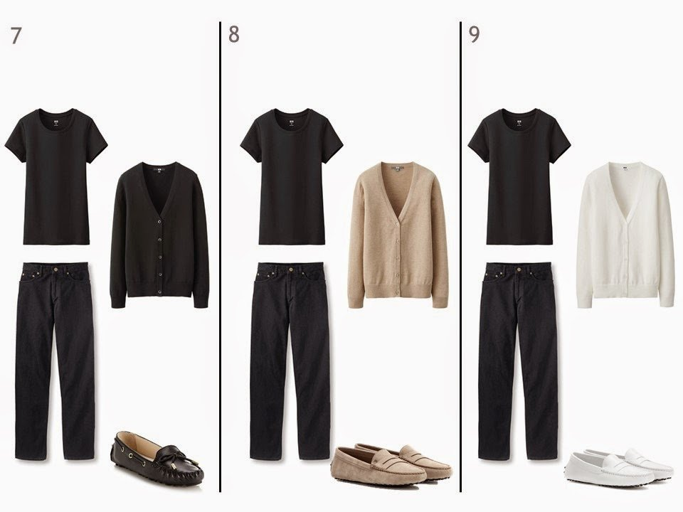 black jeans and a black tee shirt with a neutral cardigan and neutral shoes