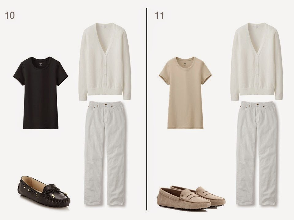 white jeans and a white cardigan with either black or beige tee shirt and loafers