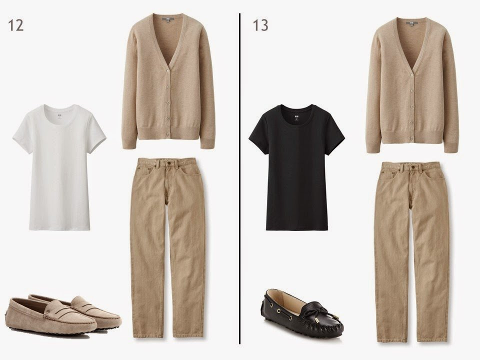 beige jeans and a beige cardigan with either a white or black tee shirt and driving moccasions