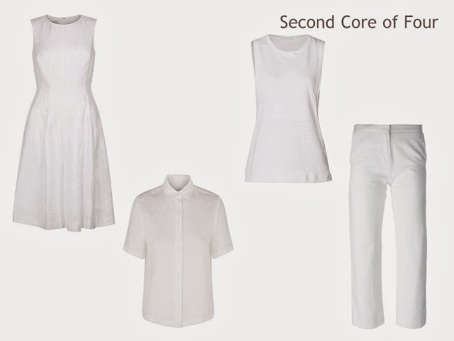 Core of Four garments in white linen: dress, shirt, top and cropped pants