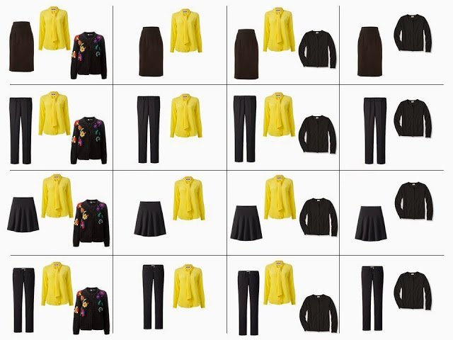 "16 outfits from a ""Whatever's Clean 13"" in black, yellow, red and purple"
