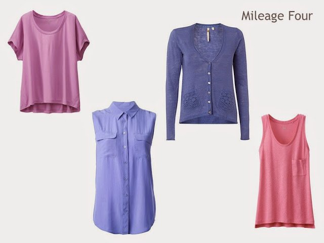 Mileage Four of four tops in pink and purple: tee shirt, sleeveless shirt, cardigan and tank top