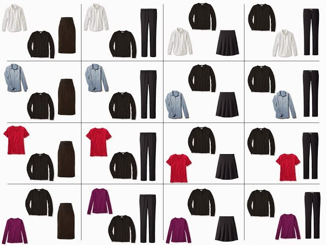 """16 outfits from a """"Whatever's Clean 13"""" in black, yellow, red and purple"""