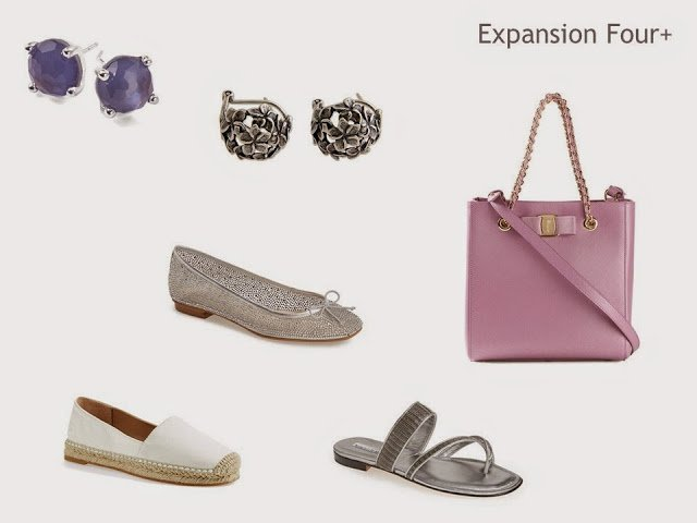 Expansion Four accessories for a grey, pink and purple wardrobe: jewelry, shoes and a bag