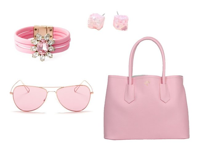 "a four-piece ""accessory family"" in pink, with bracelet, earrings, sunglasses and purse"