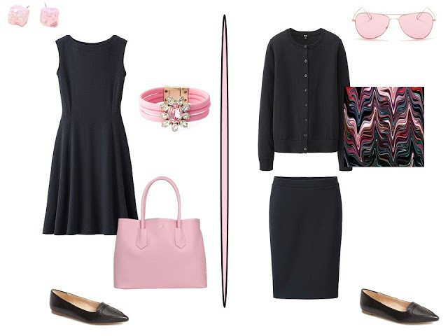 two simple black outfits with pink accessories