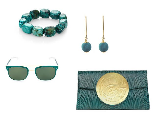 "a four-piece ""accessory family"" in teal, with bracelet, earrings, sunglasses and clutch bag"