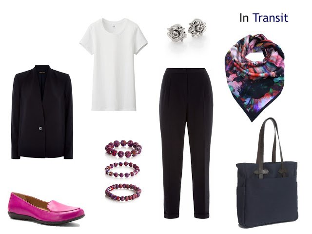 A travel outfits in navy and white, with hot pink accents