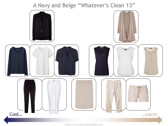 "A ""Whatever's Clean 13"" warm weather travel capsule wardrobe in navy, beige and white"