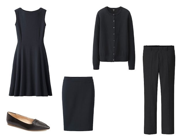four black garments: dress, skirt, cardigan and trousers, with black ballet flats
