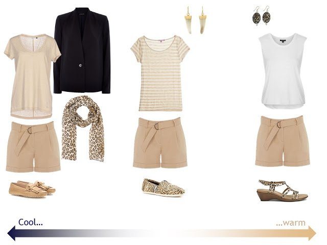 3 outfits with beige shorts and leopard accessories