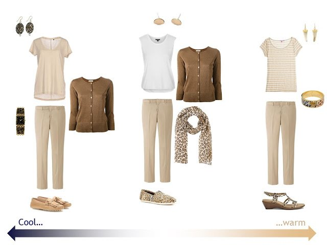 3 outfits with beige trousers and leopard accessories