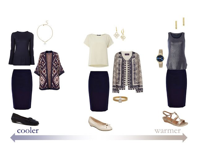 how to pack for changing weather, in navy and beige