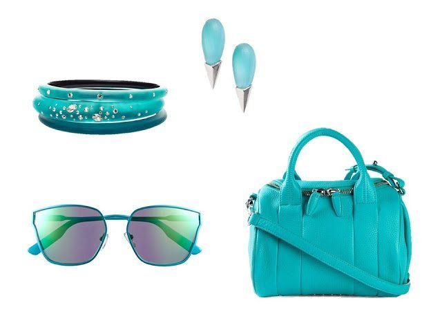 "a four-piece ""accessory family"" in aqua, with bracelet, earrings, sunglasses and purse"