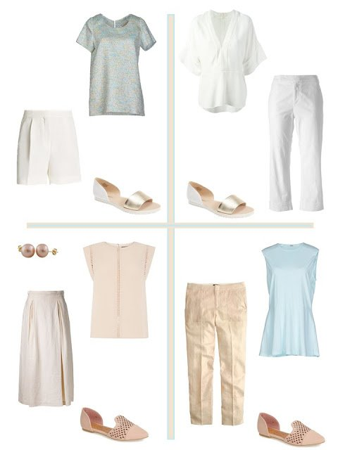 four outfits from a soft, warm summer Four by Four Wardrobe