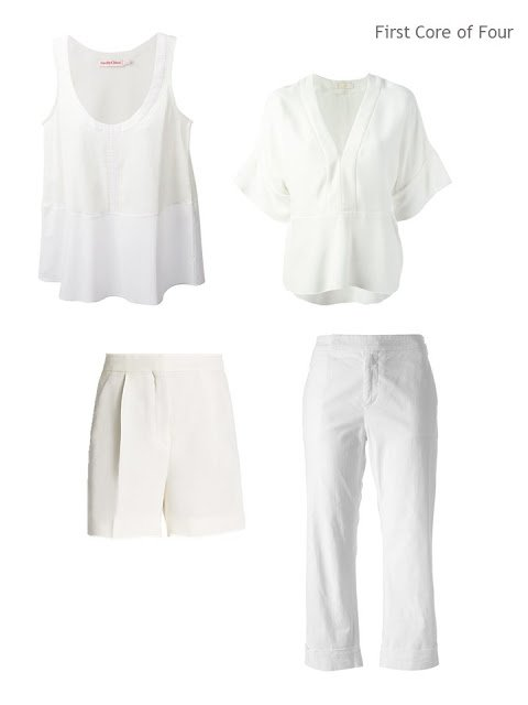 A Core of Four garments in white cotton and silk, for warm weather