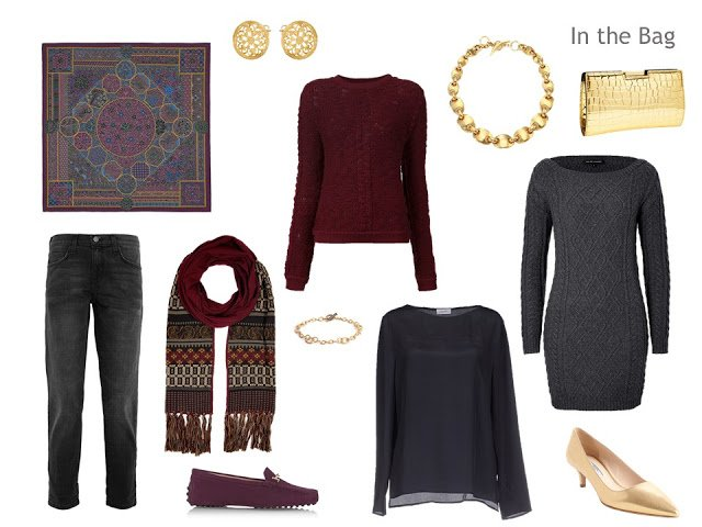 Four-pack in grey, burgundy, and gold accessories, for cool weather.
