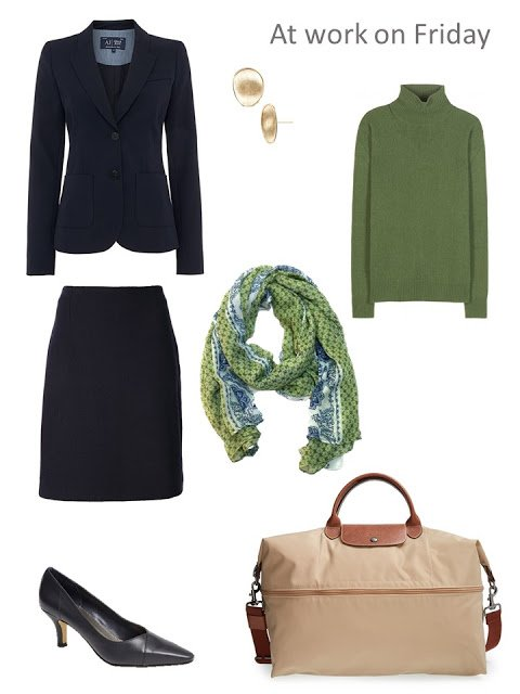 navy blazer and skirt with green sweater and scarf
