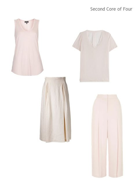Four blush pink garments - two tops, and two bottoms - for warm weather