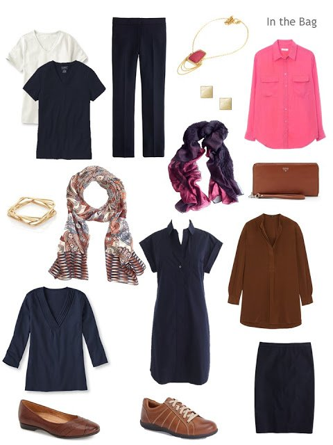 travel capsule wardrobe in navy, pink and chestnut brown