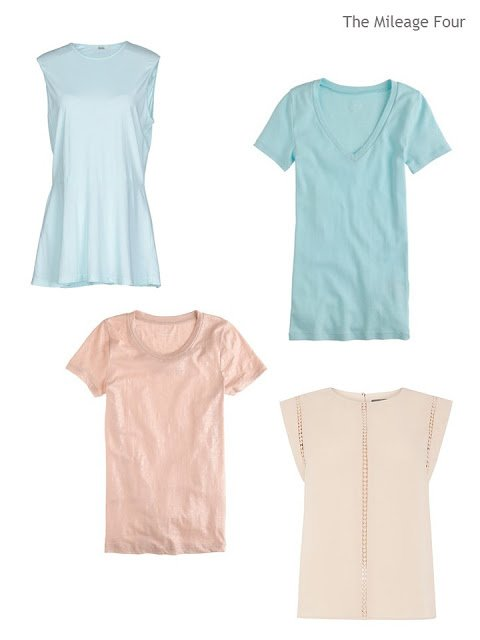 two soft aqua tops, and two muted apricot blush tops