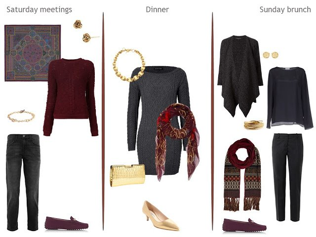 Three autumn weekend outfits, in grey and burgundy, with gold accents.