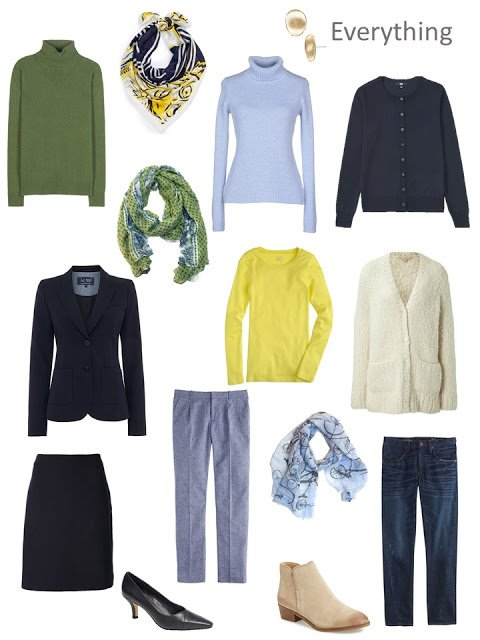 Clothes for an autumn weekend, in navy, green, yellow and cream
