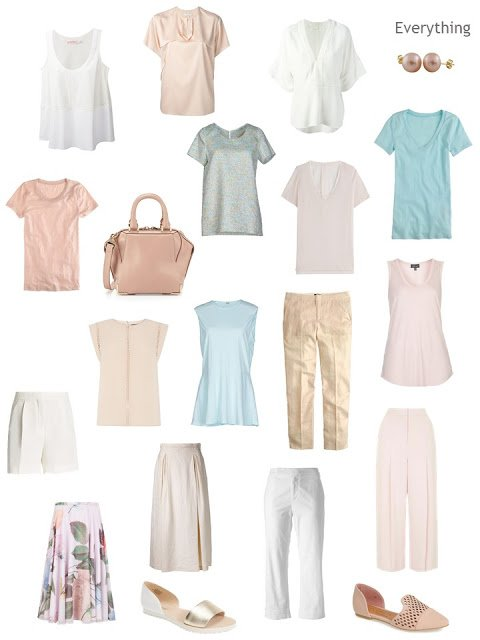 a Four by Four wardrobe in soft warm colors, for warm weather