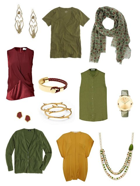 Olive, Wine and Gold join A Common Capsule Wardrobe, warm tones for summer