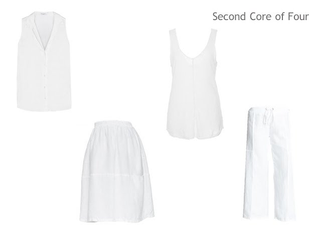 A Second Core of Four of a white top, skirt, tank and capris, for a warm weather vacation