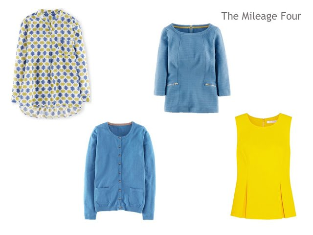 A Mileage Four of four tops in yellow and blue, for a warm weather vacation with cool days possible