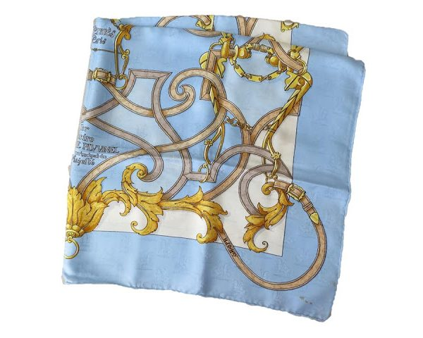 Scarf Selling Saturday: Hermes Les Instructions du Roy, in Light Blue