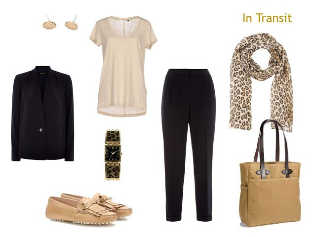 travel outfit in navy and beige with leopard accessories