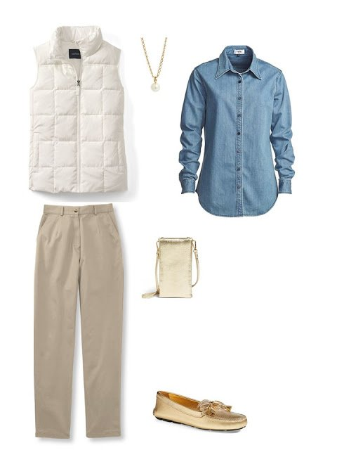 outfit with an off-white down vest, chambray shirt and khakis