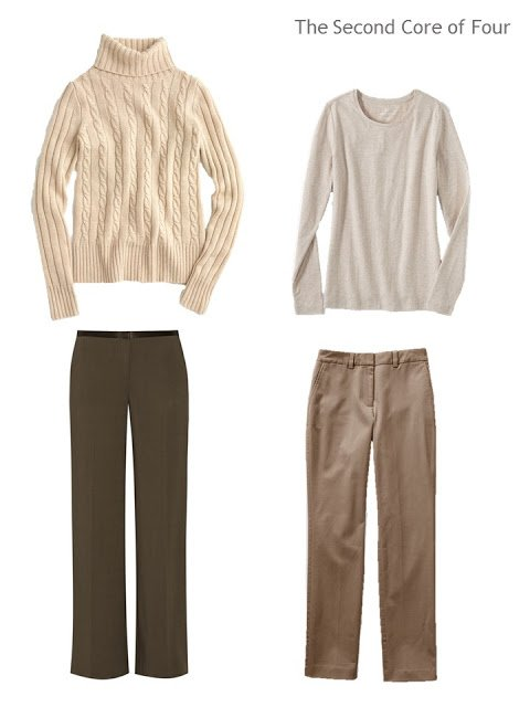 two tops and two bottoms on shades of beige and brown, to make two outfits