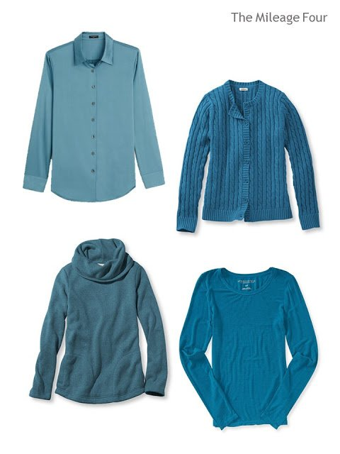 four tops in teal blue:  a blouse, a cardigan, a fleece top and a tee shirt