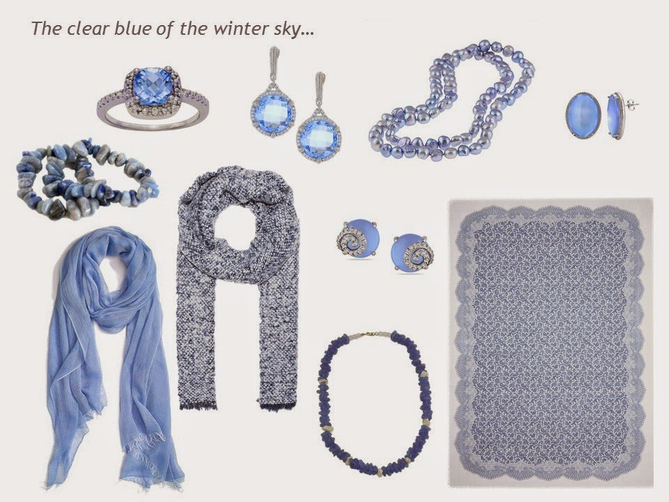 """A """"family"""" of accessories in light blue, including jewelry and scarves"""