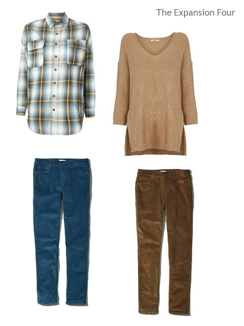 four pieces of clothing, in teal and brown, to make four outfits