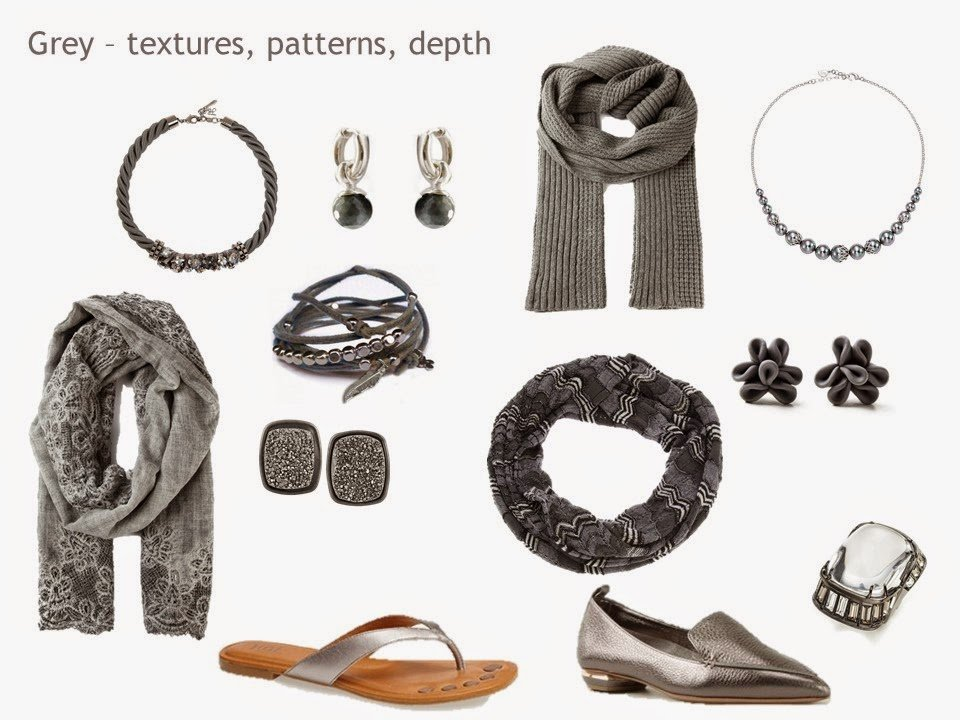 """a silver and grey """"family"""" of accessories, including jewelry, scarves and shoes"""